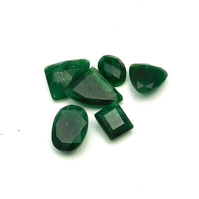 50.05 cts Natural Green Aventurine Fancy Both Side Faceted Gemstone 6 pcs lot