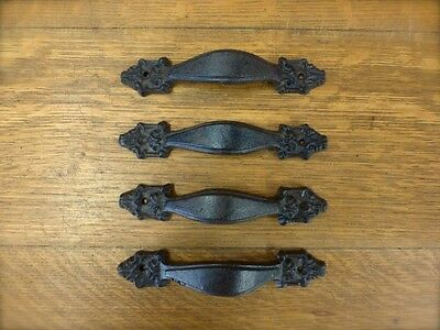 "4 Brown 7"" Victorian Drawer Door Cabinet Pulls Handles Antique-Style Cast Iron"