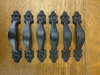 "6 Brown 7"" Victorian Drawer Door Cabinet Pulls Handles Antique-Style Cast Iron"