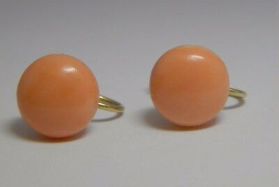 Vintage 14K Gold Screwback Non Pierced Salmon Angel skin Coral Earrings 12 mm