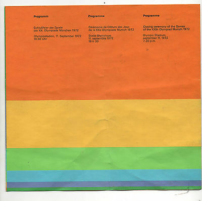 Orig.PRG    XX.Olympic Games MÜNCHEN 1972  -  CLOSING CEREMONY  !!  EXTREM RARE