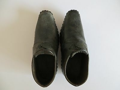 Antique Genuine Victorian Leather Children's Shoes/Clogs with Wooden Sole