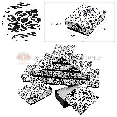 "12 Black Damask Print Cotton Filled Cardboard Jewelry Gift Boxes 2 1/8"" x 1 5/8"""