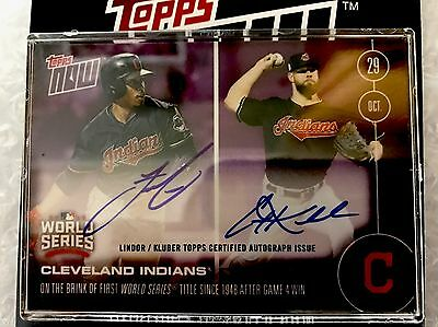 2016 Topps Now World Series Dual Auto Lindor/Kluber 15/25! In Hand!