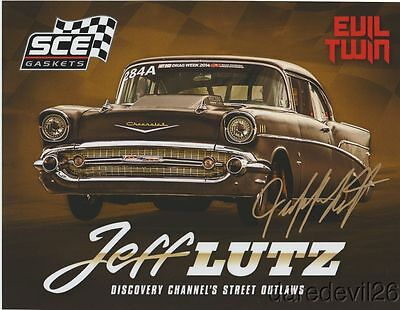"2016 Jeff Lutz signed ""Evil Twin"" '57 Chevy Street Outlaws PRI Show postcard"