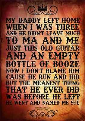 Johnny Cash A Boy Named Sue Poster Music Lyrics A4 Typography Word Art Print