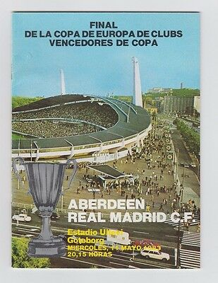 Orig.PRG  Cup Winners Cup  1982/83  FINAL  REAL MADRID - FC ABERDEEN  !!  RARE