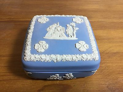 Vintage Wedgwood Blue Jasperware Square Trinket Box