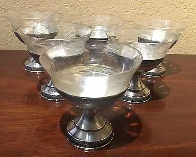 Set of 6 Beautiful Sterling/Glass Dessert/Sherbet Dishes in Excellent Condition