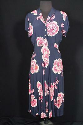 Very Rare Vintage 1940's Silky Rayon Floral Wwii Era Swing Dress Size 8