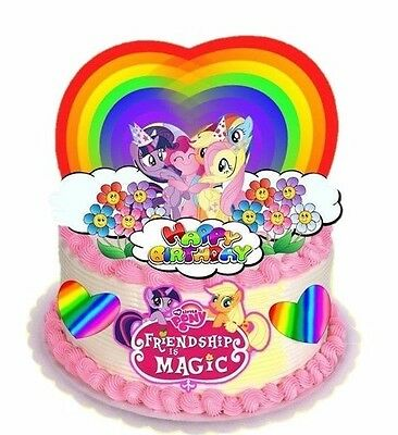 Edible My Little Pony Rainbow Hearts Stars Stand Up Birthday Cake Cupcake Topper