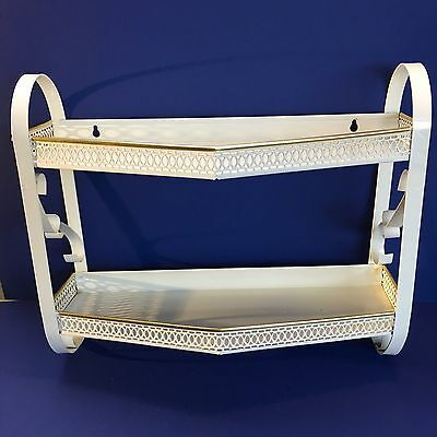 Vintage 1960s Bathroom 2 Tiered Wall Shelf & Towel Holder White Metal MCM Retro