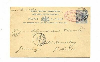 BRITISH STRAITS SETTLEMENTS SINGAPORE1890 GANZSACHE GERMANY Stationary Postcard