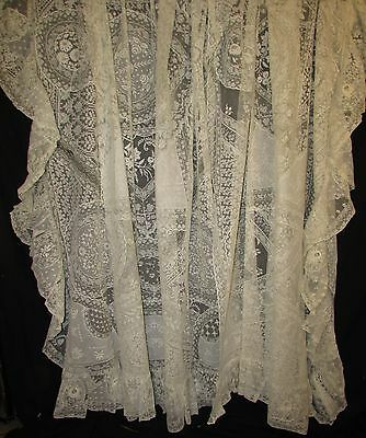 Pair Normandy Lace Curtains, Spreads, Embroidery, Tambour Work
