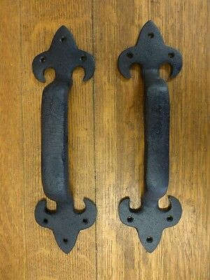 "2 Brown Xl Lily Door Gate Barn Handles Pull 11.5"" Rustic Antique-Style Cast Iron"