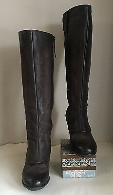 Mjus womens block heel knee high brown leather boots - Size 7