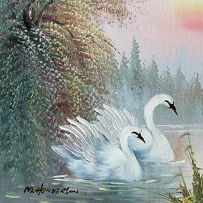 Genuine Original Painting of Swans on a Lake: OPEN TO OFFERS