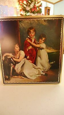 Large Square Metal Tin With Old Fashioned Picture Of Two Girls And A Boy