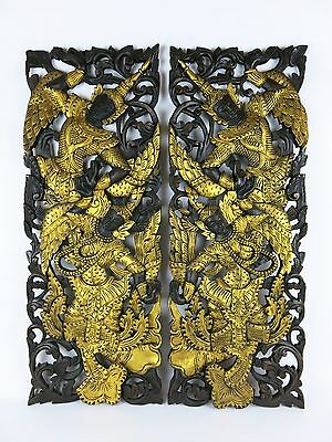 "Siam Dancers Solid Teak Wood Carving Wall Art Set Of 2 Thailand 36"" x 13.5"""
