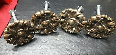 Vintage antique brass metal Drawer Knobs Pulls Provincial Flower lot of 4 lot 1