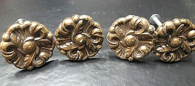 Vintage antique brass metal Drawer Knobs Pulls Provincial Flower lot of 4 lot 2