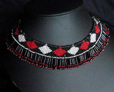 African tribal choker heavy beaded necklace womens glamour red silver Zulu party