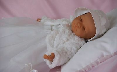 Baby Girls Dress White Christening Flower Girl with Hat Long Sleeve Shrug