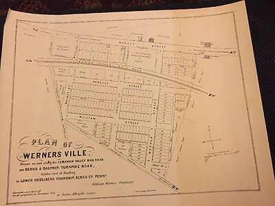 2 Wernersville,PA-LARGE MAPS OF TOWN Layout 1855 And Souvineer Golden 1964