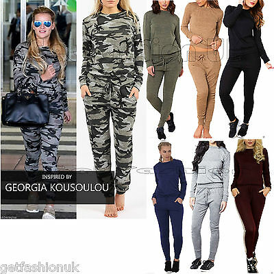 Women Ladies Melange Loungewear Set Sweatshirt Joggers Tracksuit Pants Army 8-14