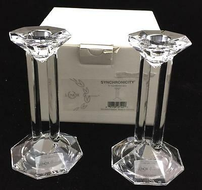 Lenox Crystal SYNCHRONICITY Pair Single Light Candlesticks GREAT CONDITION