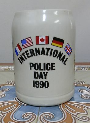 Nice Vintage German Beer Stein Mug. International Police Day 1990