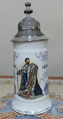 Nice Vintage German  Lidded Beer Stein. Commemorative 1845-1886