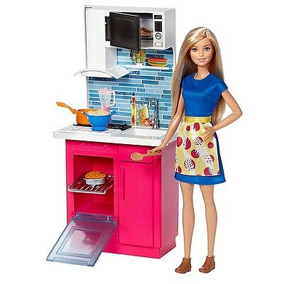 NEW! 2017 Barbie Doll House Furniture Kitchen Playset with Doll New In Box