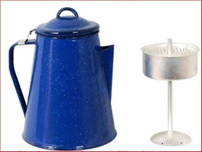 Enamel 8 Cup Coffee Pot Camp Kettle with Percolator Camping Outdoor  BBQ Picnic
