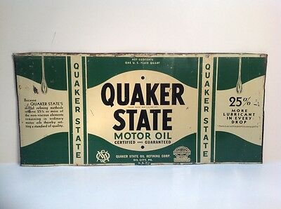 Flattened Unrolled Quaker State Can Quart Motor Oil Gasoline metal tin steel car