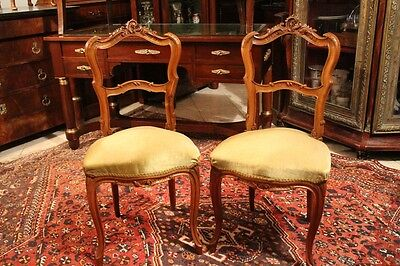 Pair of chairs end xixth walnut solid carved style Rockery Louis XV