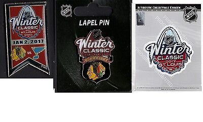 2017 Winter Classic Patch + Dueling Team Pin +Chicago Blackhawks Puck Style Pin