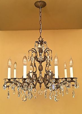 Vintage Lighting 1960s large Hollywood Regency crystal chandelier