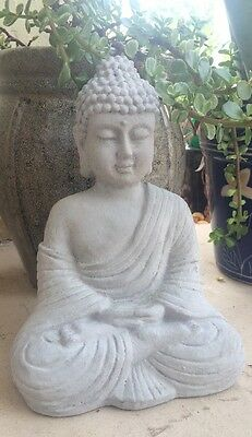 Buddha Statue Concrete Religion Grey Garden Lawn Decor Peace Buddhism