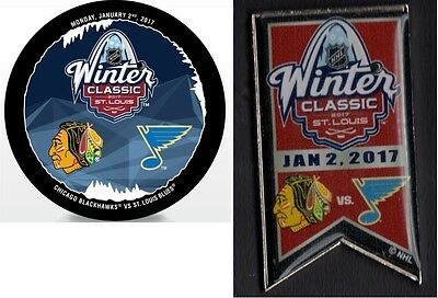 2017 Winter Classic Dueling Team Pin & Puck  St. Louis Blues Chicago Blackhawks