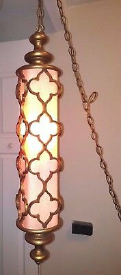 Vintage Hanging Ornate Gold Metal Frame Pendant Lamp