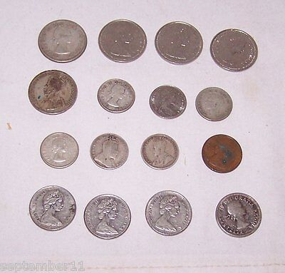 Group 16 Vintage Canadian Coins Some Silver Quarters,Dimes, Nickels, One Penny