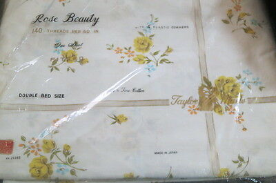 Awesome Vtg JAPANESE ROSE BEAUTY Floral Full Bed FITTED Sheet Nwt!