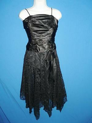 Vintage 80s XS Black Party Dress Satin Wiggle Lace Skirt Side Bow Sleeveless