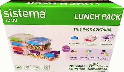 Sistema 17Pc Food Storage Containers Lunch Box Sandwich Set-perfect For School.