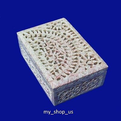 Marble Jewelry Box Hand Carved Soapstone Arts Handicraft Home Decor Gifts
