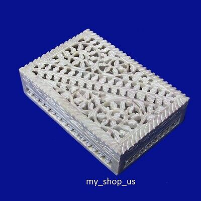 Jewelry Marble Box Carving Soapstone Arts Handicraft Home Decorative Gifts Item
