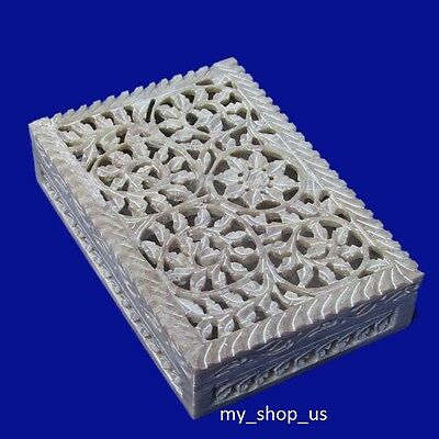 Marble Jewelry Box Carving Soapstone Arts Handicraft Home Decor Gifts Item