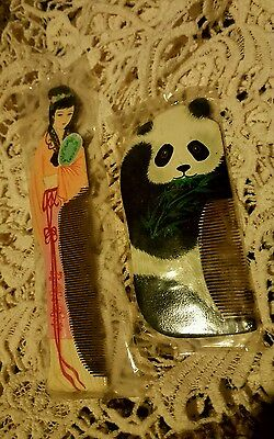 Vintage Asian Wooden Hair Combs