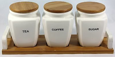 New best quality Tea,coffee and Sugar Jars Ceramic with bamboo lid and Holder